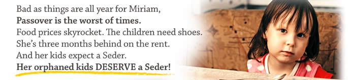 Bad as thinks are all year for Miriam, Passover is the worst of times. Food prices skyrocket. The children need shoes. She's three months behind on the rent. And her kids expect a Seder. Her orphaned kids DESERVE a Seder!