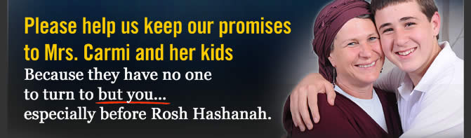 Please help us keep our promises to Mrs. Carmi and her kids . Because they have no one to turn to but you � especially before Rosh Hashanah.
